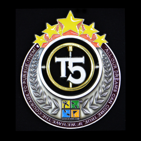 T5 Geocoin - AS + Yellow Stars