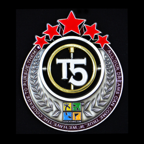 T5 Geocoin - AS + Red Stars