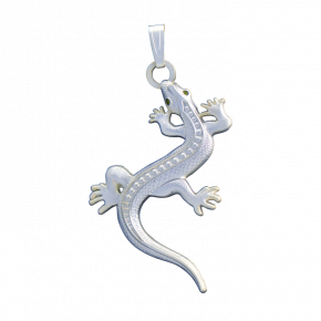 Lizard Geocoin Necklace SS